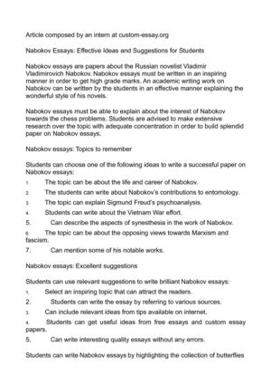 nabokov essays effective ideas and suggestions for students nabokov essays effective ideas and suggestions for students