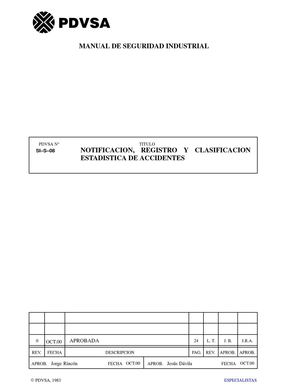 [SI–S–08] Notificación, registro y clasificación estadística de accidentes – PDVSA – Oct. 2000