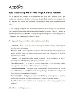 Your Relationship With Your Foreign Business Partners