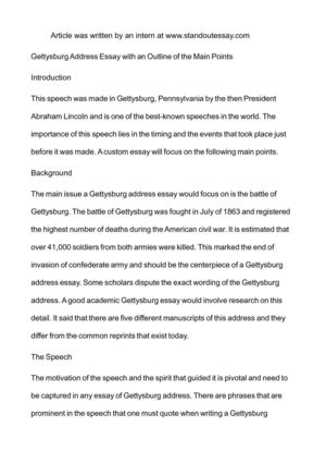 gettysburg address essay an outline of the main  gettysburg address essay an outline of the main points introduction