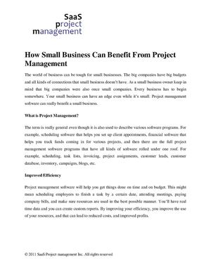 How Small Business Can Benefit From Project Management