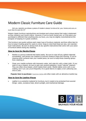 Modern Classic Furniture Care Guide