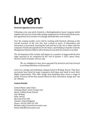 Kewtech Appoints Liven Creative