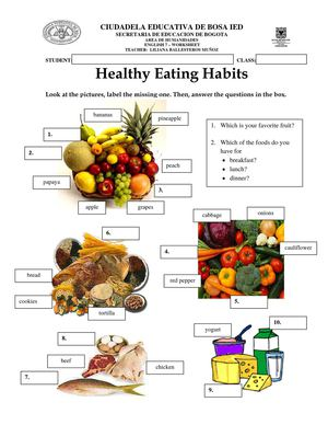 good eating habits versus bad eating habits Healthy vs unhealthy food choices worksheet use it as a warm up activity while talking about good eating habits.