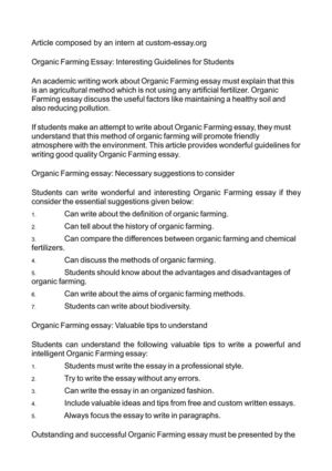 organic farming essay interesting guidelines for students organic farming essay interesting guidelines for students