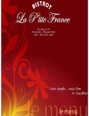 "Menu du restaurant ""la p'tite France"" (french restaurant phnom penh-cambodia)"