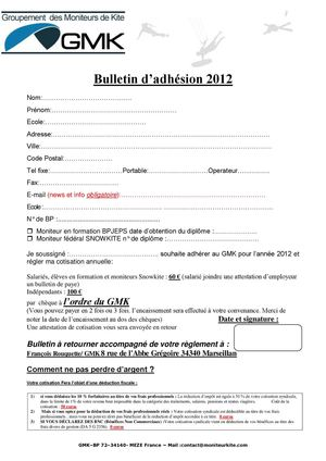 Bulletin d'inscription au GMK 2012