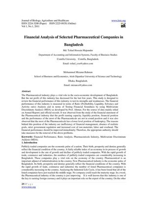 Financial Analysis of Selected Pharmaceutical Companies in Bangladesh