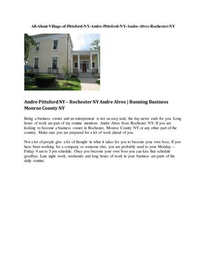 Andre Alves Rochester NY All About The Pittsford Village NY