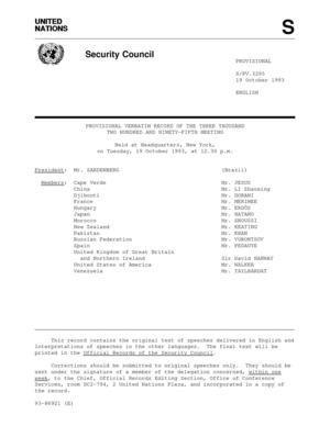 Security Council, Provisional verbatim record of the 3295th Meeting, 19 October 1993