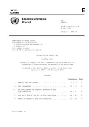 UN Commission on Human Rights, working paper - Protection of Minorities, 6 July 1994