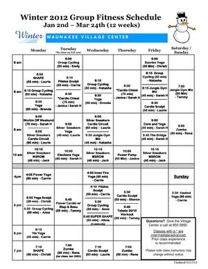Winter 2012 Fitness Schedule