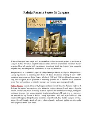 Raheja Revanta Gurgaon +91 9811 999 666 Real Estate Gurgaon