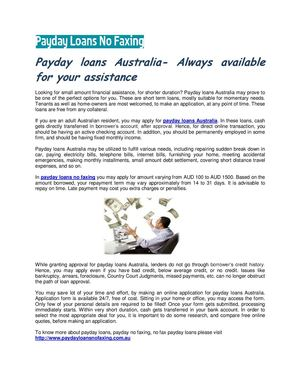 Calaméo - Payday loans Australia- Always available for your assistance
