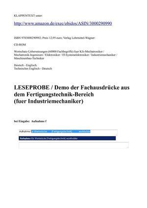 Calam o deutsch englisch woerterbuch fachbegriffe for Ingenieur fertigungstechnik