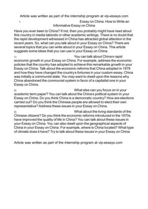 Calaméo - Essay On China: How To Write An Informative Essay On China