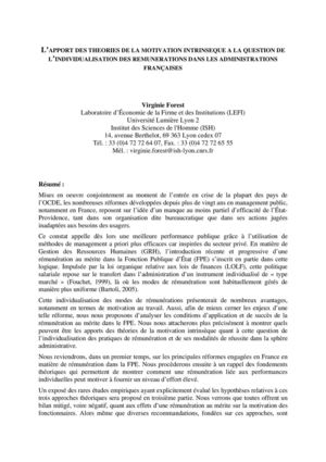 L'APPORT DES THEORIES DE LA MOTIVATION INTRINSEQUE A LA QUESTION DE L'INDIVIDUALISATION DES REMUNERATIONS DANS LES ADMINISTRATIONS FRANÇAISES