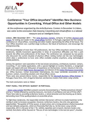 "Conference ""Your Office Anywhere"" Identifies New Business Opportunities In Coworking, Virtual Office And Other Models"