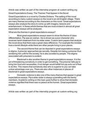 Themes Of Great Expectations Essays  Themes Of Great Expectations   Great Expectations Theme Essay  By Ashergevisser  Essay On Paper also Online Check Writing Service  Process Paper Essay