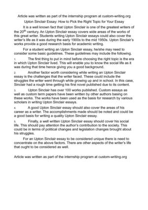 upton sinclair research paper Jungle book research paper 2509 words | 11 pages english iii november 30, 2012 uncovering the allegories in the jungle book over  the jungle book by upton sinclair.