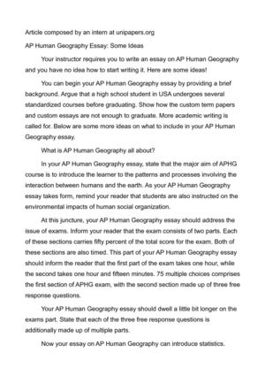 Custom geography essay