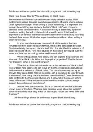 Holes essay
