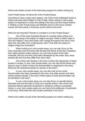 the color purple essay Essays and criticism on alice walker's the color purple - critical evaluation.