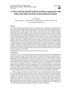 A Close Look into Double Taxation Avoidance Agreements with India Some Relevant Issues in International Taxation