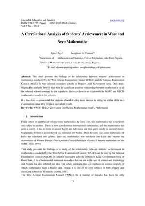 A Correlational Analysis of Students Achievement in Waec and Neco Mathematics