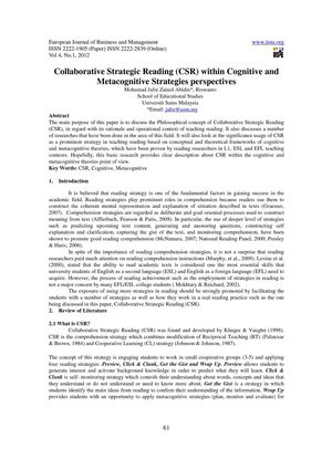Collaborative Strategic Reading (CSR) within Cognitive and Metacognitive Strategies perspectives