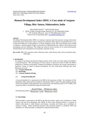 Human Development Index (HDI)  A Case study of Aasgaon Village, Dist- Satara, Maharashtra, India
