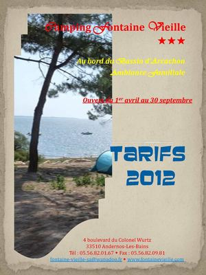 Camping Fontaine Vieille - Tarifs 2012
