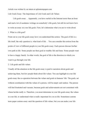 Calam o life goals essay the importance of life goals and life