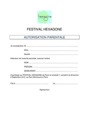 Autorisation parentale Festival HEXAGONE