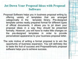 Jot Down Your Proposal Ideas with Proposal Software