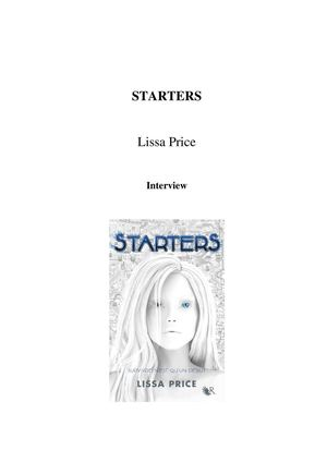 Interview de Lissa Price, auteur de Starters