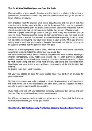 Tips On Writing Wedding Speeches From The Bride