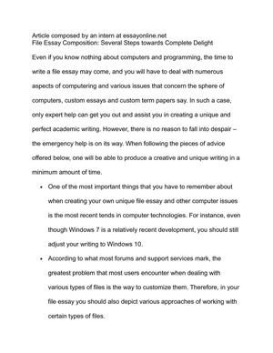 File Essay Composition: Several Steps towards Complete Delight