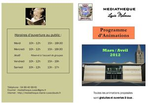 Programme animations mars-avril 2012