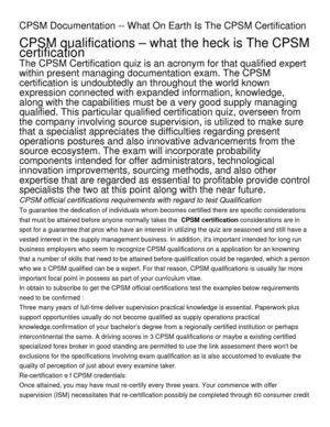 CPSM Documentation -- What On Earth Is The CPSM Certification (1)