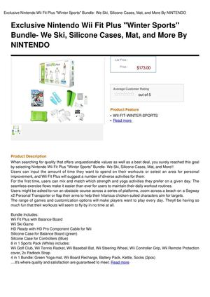 Exclusive Nintendo Wii Fit Plus Winter Sports Bundle- We Ski, Silicone Cases, Mat, And More By NINTENDO