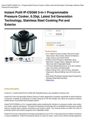Instant Potâ® IP-CSG60 5-In-1 Programmable Pressure Cooker, 6.33Qt, Latest 3Rd Generation Technology