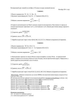 Контрольный срез по математике 8 класс ответы