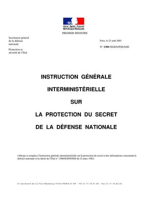 Instruction Générale Interministérielle sur la Protection du Secret de la Défense Nationale