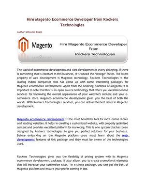Hire Magento Ecommerce Development  Services From Rockers Technologies