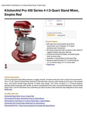 Kitchenaid Pro 450 Series 4-1 2-Quart Stand Mixer, Empire Red