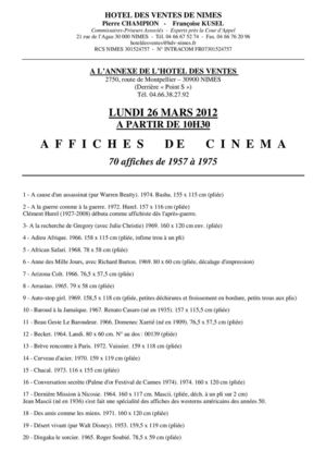 VENTE D\'AFFICHES DE CINEMA 26-03-2012