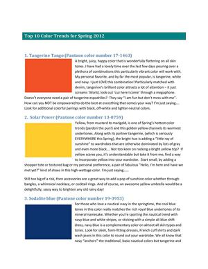 Top 10 Color Trends for Spring 2012