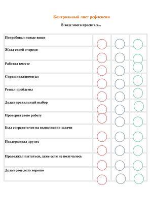 Контрольный лист рефлексии Контрольный лист рефлексии