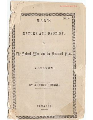 Man's Nature and Destiny by George Storrs